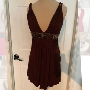 Brown Tunic Tank w/Gold Buckle Detail